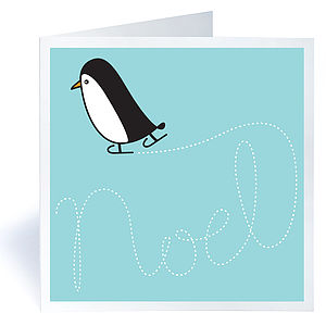 Pack Of Six Skating Penguin Christmas Cards - cards & wrap
