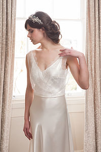 Ava - Satin And Lace Wedding Gown - bridal fashion & accessories