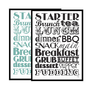 Typographic 'Let's Eat!' Screen Print - posters & prints