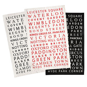 London Tube Stops Typographic Tea Towel - kitchen accessories