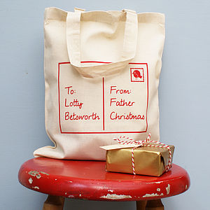 Personalised Christmas Postcard Shopper Bag - stockings & sacks
