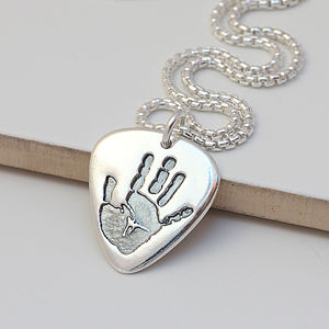 Men's Personalised Hand Or Footprint Necklace
