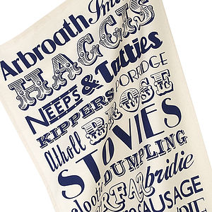 Scottish Dinner Typographic Tea Towel - kitchen