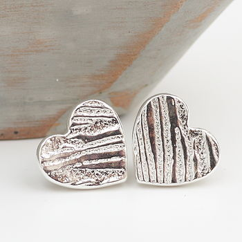 Textured Silver Heart Shaped Stud Earrings