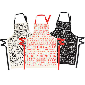 London Tube Stops Typographic Apron