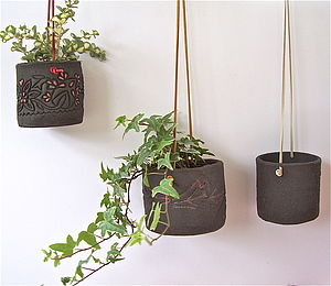 Leather Strung Black Clay Hanging Pot - flowers, plants & vases