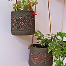 Leather Strung Black Clay Hanging Pot