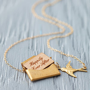 Personalised Mini Love Letter Necklace In Gold - gifts for friends