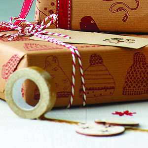 Recycled 'Keep Cosy This Christmas' Gift Wrap Set - wrapping