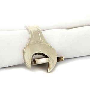 Set Of Four Spanner Napkin Rings - table linen