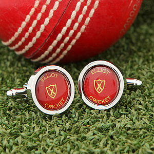 Personalised Cricket Ball Cufflinks - sport-lover