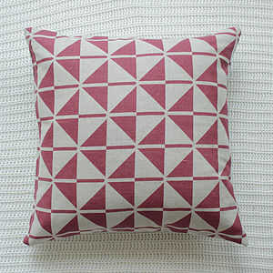 Berry Pink Patterned Linen Cushion Cover - cushions