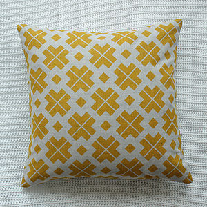 Saffron Yellow Patterned Linen Cushion Cover - cushions