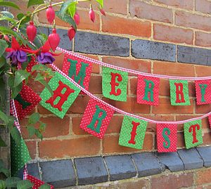 Merry Christmas Bunting - outdoor decorations