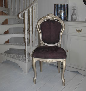 Vintage Restored Chocolate Suede Chair - furniture