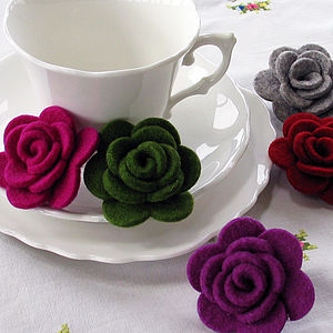 Wool Felt Rose Brooch - corsages