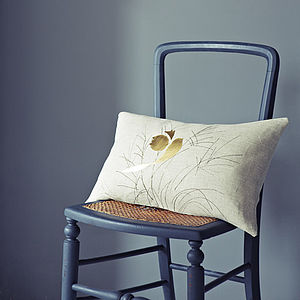 Goldfinch Grasses Linen Cushion - quirky neutral living room