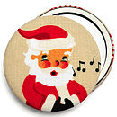 ''Whistling Santa'' Christmas Pocket Mirror