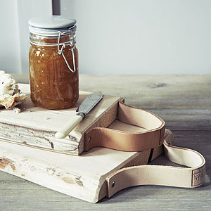 Leather Strap Bread Board - gifts for the home
