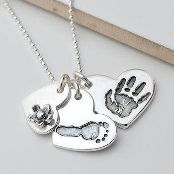 Silver Handprint Footprint Heart Necklace