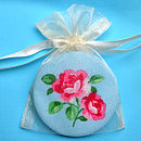 Blue Rose Compact Mirror in Organza Bag