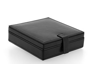 Black Leather Square Cufflink Box - cufflink boxes