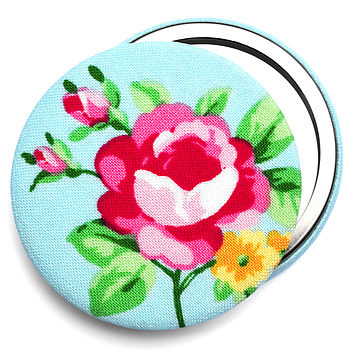 Blue Fabric Rose Compact Mirror