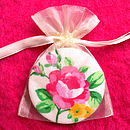 White Rose Compact Mirror in Orgnaza Bag