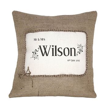 Personalised 'Mr And Mrs' Cushion Cover