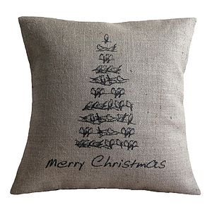 Vintage Style Christmas Tree Cushion - christmas home accessories