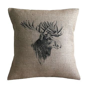 Vintage Moose Cushion Cover