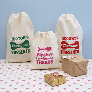 Personalised Pet Christmas Gift Sack - stockings & sacks