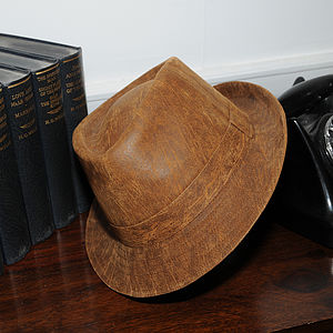 'Camden' Leather Trilby Hat - men's accessories