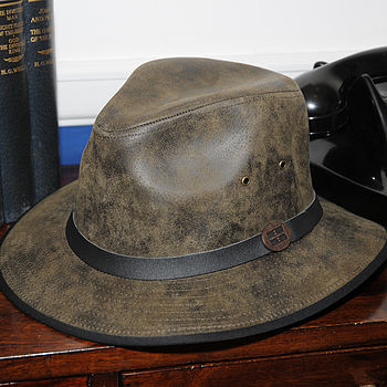Madrid Leather Fedora Olive