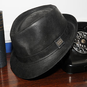 'Camden' Leather Trilby Hat - hats, scarves & gloves