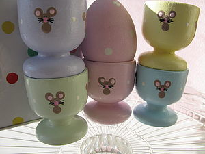 Hand Painted Little Mice Design Egg Cups - kitchen