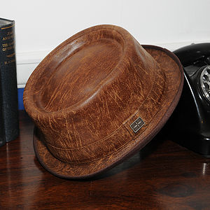 'Soho' Leather Pork Pie Hat - hats, scarves & gloves