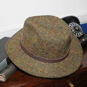 'Aviemore' Harris Tweed Fedora Hat - hats