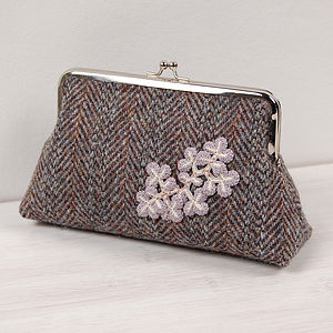Herringbone Harris Tweed Clutch Purse - women's accessories