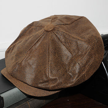 Leather Nesboy Cap Brown