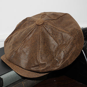 Leather Newsboy Cap - men's accessories