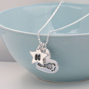 Personalised Footprint Silver Heart Necklace