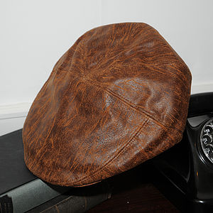 'Milano' Leather Flat Cap - hats, scarves & gloves