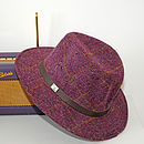 Aviemore Harris Tweed Fedora Plum