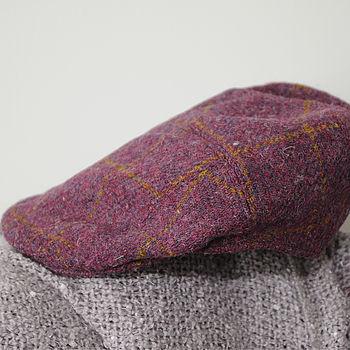 Aberdeen Harris Tweed Cap Plum