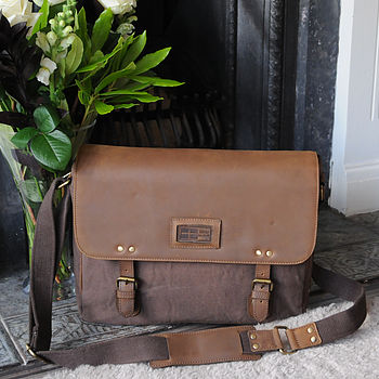Leather and Canvas Satchel