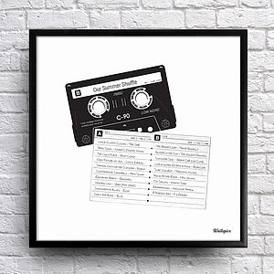 Personalised Mix Tape Tracklist Art - special work anniversary gifts