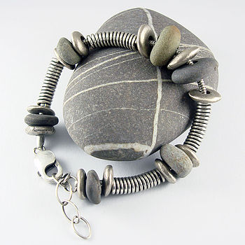 Handmade Beach Pebble And Silver Bracelet