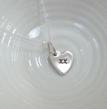 Silver Heart Kiss Necklace Charm