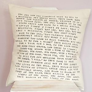 'The Owl & The Pussycat' Cushion - wedding gifts